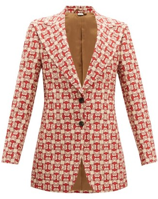 Gucci Horsebit Jacquard Cotton Blend Jacket - Womens - Red Multi