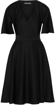 Alexander McQueen Cape-sleeve Grain De Poudre Wool Wrap Dress