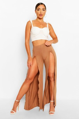 boohoo Split Front Tie Waist Jersey Wide Leg Pants
