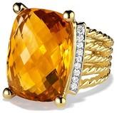 David Yurman Wheaton Ring with Citrine and Diamonds in Gold