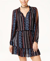 Jessica Simpson Printed Cold-Shoulder Peasant Dress