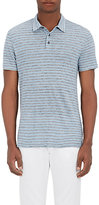 Vince MEN'S FEEDER-STRIPED POLO SHIRT-LIGHT BLUE SIZE S