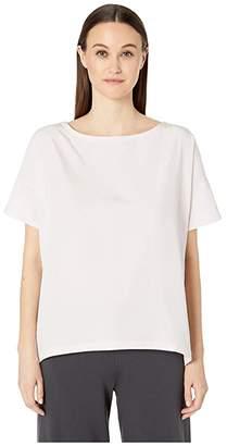 Eileen Fisher Bateau Neck Short Sleeve Top (Ceramic) Women's Short Sleeve Pullover