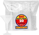 Amscan Plastic Martini Glasses, 8-Ounce, Clear, 20 Per Package