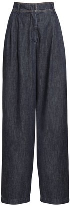Max Mara High Waist Cotton Denim Wide Leg Pants