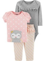 Carter's Child Of Mine By Child of Mine by Baby Girl Outfit Long Sleeve Bodysuit, T-Shirt & Pants, 3-Piece
