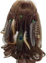 e-youth Indiana Peacock Feather Headband, Feather Headpiece with Bead for Women and Girls