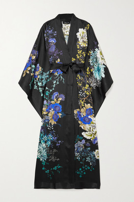 MENG Belted Floral-print Silk-satin Robe - Black