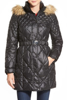 GUESS Faux Fur Trim Belted Quilted Coat