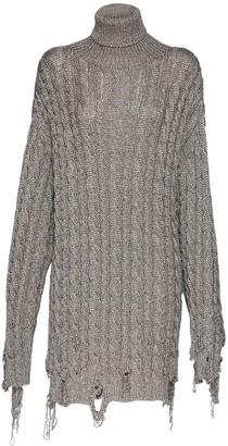 Balenciaga Over Chunky Lurex Knit Rib Sweater