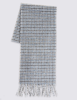 Marks And Spencer Marks And Spencer Pure Wool Dogs Tooth Lambswool Scarf