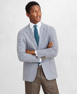 Brooks Brothers Golden Fleece Wool-Blend Houndstooth Blue Sport Coat