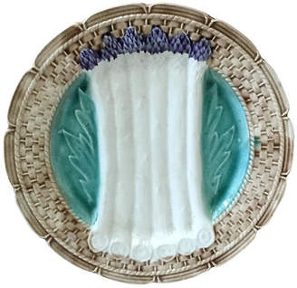 One Kings Lane Vintage Majolica Asparagus Plate Orchies - majolicadream - brown/blue/white