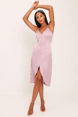 I SAW IT FIRST Mauve Satin Midi Dress
