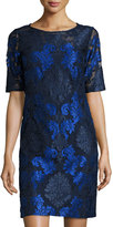 Donna Ricco Embroidered Lace Sheath Dress, Navy