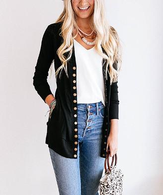 So Perla Affordable So Perla Affordable Women's Cardigans Black - Black Long Snap Pocket Cardigan - Women