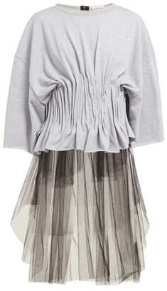 Natasha Zinko Ruched Corset Mesh T Shirt - Womens - Grey