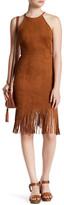 Soprano Faux Suede Fringe Sheath Dress
