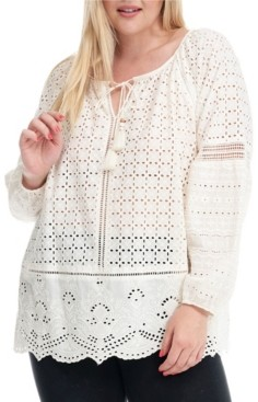 Fever Trendy Plus Size Eyelet Blouse