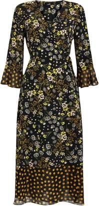 Wallis Black Ditsy Floral Print Maxi Dress