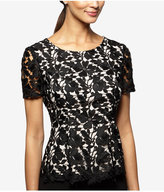 Alex Evenings Floral Lace Two-Tone Blouse