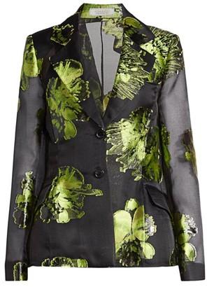 Nina Ricci Metallic Floral Silk-Blend Blazer