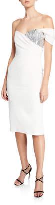 Milly Esme One-Sleeve Italian Cady Sheath Dress w/ Sequin Embellishment