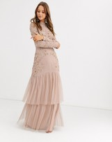 Maya tiered maxi dress with embellishment in taupe