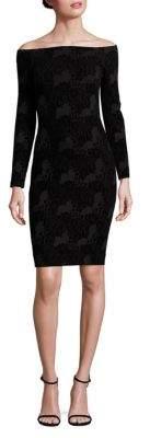 L'Agence Daphne Off-The-Shoulder Lace-Print Dress