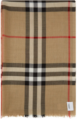 Burberry Beige Wool Check Scarf