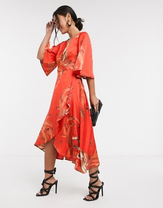 Liquorish midi wrap dress in red bird print