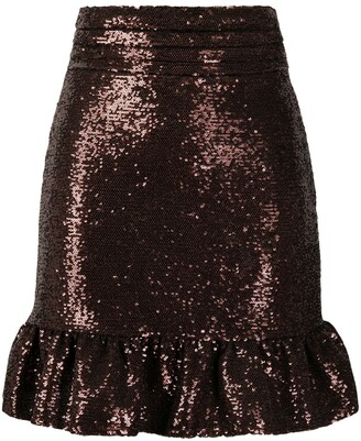 BROGNANO Sequinned Fishtail Mini Skirt