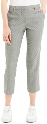 Theory Textured Check Crop Wool Blend Trousers