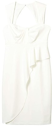 Adrianna Papell Draped Crepe Sheath Dress with Sweetheart Neckline (Ivory) Women's Dress
