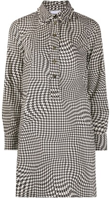 Ganni Ruffled-Collar Houndstooth Shirt Dress