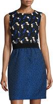 Taylor Embroidered-Top Dress, Black Cobalt