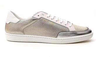 Saint Laurent Perforated Metallic Low-Top Sneakers