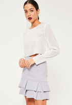 Missguided Grey Double Frill Hem Stretch Crepe Mini Skirt