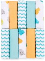 Bed Bath & Beyond Just Bath by Just BornTM Love to Bathe 10-Pack Knit Washcloth in Hippo/Aqua and Orange