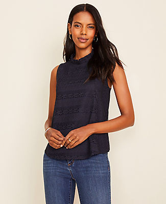 Ann Taylor Lace Ruffle Mock Neck Shell Top