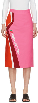 pushBUTTON Pink and Orange Logo Skirt