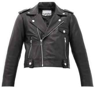 Ganni Cropped Leather Jacket - Black