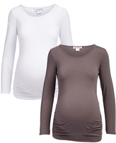 Times 2 Women's Tee Shirts PEWTER-WHITE - Pewter & White Long-Sleeve Scoop Neck Maternity Top - Set of Two