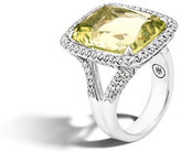 John Hardy Faceted Lemon Quartz & Pavé Diamond Ring, 0.62 tdcw