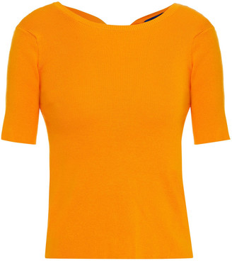 Simon Miller Knotted Cutout Ribbed Cotton-blend Top