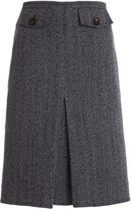 Victoria Beckham Pleated Double-Faced Herringbone Wool-Cotton Midi Skirt