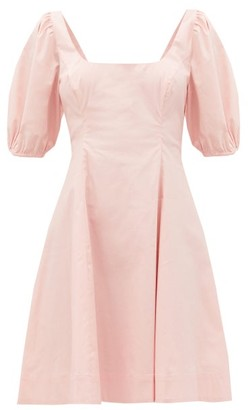 STAUD Laelia Balloon-sleeve Cotton-blend Poplin Dress - Light Pink