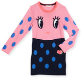 Billieblush Long-Sleeve Colorblock Polka-Dot Dress, Pink/Navy, Size 4-8