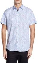 Stone Rose Men's Trim Fit Pineapple Print Sport Shirt