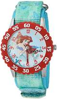 Disney Girl's 'Ariel' Quartz Stainless Steel and Nylon Casual Watch, Color:Green (Model: WDS000046)